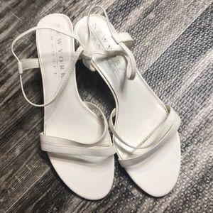 White strappy sandal heel shoe